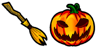 Halloween broom and pumpkin