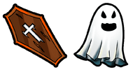 Halloween coffin and ghost
